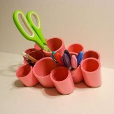 Here's How to Make Your Own Plastic Pipe Desk Organizer | Apartment Therapy