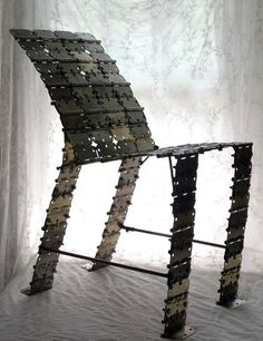 Chair made from Metal Hinges  www.metamourskincare.com