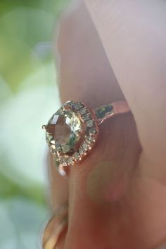Hand crafted rose gold ring. Green amethyst & diamonds Diamond Earrings, Jewelery, Gold Rings, Amethyst, Diamonds, Rose Gold, Engagement Rings, Green, Crafts