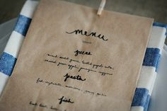 darling idea for summer dinner party on the patio...menu on paper bag with clothespin and napkin.....