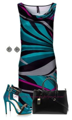 """Jungle Stripe Shift Dress"" by stay-at-home-mom ❤ liked on Polyvore featuring Karen Millen, Lauren Ralph Lauren and Zoe"