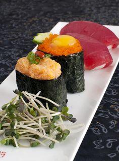Spicy Scallop, masago with quail egg and maguro (tuna)nigiri