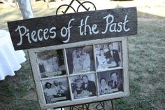 Window Pane Pictures, with old wedding photos. This could also be done for milestone birthdays.