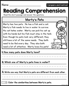 Reading Comprehension Passages - Compare and Contrast [Lit