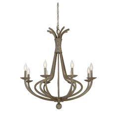 Cast a stylish glow over your foyer or dining room decor with this curving chandelier, showcasing an eye-catching candelabra silhouette.
