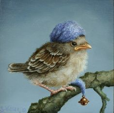 Bird with hat, branch. Suzan Visser, mutsje - bel