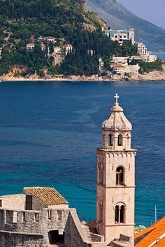 Church bell tower over old town of Dubrovnic, Croatia