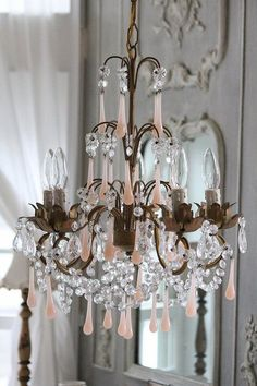 darling little accent chandelier with pink opaline drops. Chandelier Bougie, Antique Chandelier, Chandelier Lighting, Pink Chandelier, Crystal Chandeliers, French Chandelier, French Mirror, Antique Lighting, Shabby Cottage