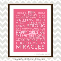 I Believe in Pink, Inspirational Quote by the lovely Audrey Hepburn