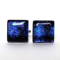 Dichroic Glass Cufflinks, Dark Blue Purple on Black Base, Mens Jewelry   ResetarGlassArt - Jewelry on ArtFire