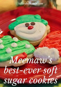 Best-Ever Soft and Chewy Sugar Cookies Looking for the perfect sugar cookie recipe? Look no further than Meemaw's Best-Ever Soft Sugar Cookies!Looking for the perfect sugar cookie recipe? Look no further than Meemaw's Best-Ever Soft Sugar Cookies! Chewy Sugar Cookies, Christmas Sugar Cookies, Christmas Sweets, Christmas Cooking, Holiday Cookies, Holiday Treats, Cookies Soft, Christmas Recipes, Christmas Goodies