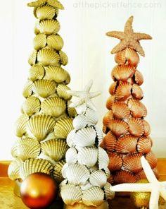 Coastal Decor, Beach, Nautical Decor, DIY Decorating, Crafts, Shopping | Completely Coastal Blog: Make Beautiful Cone Seashell Christmas Trees