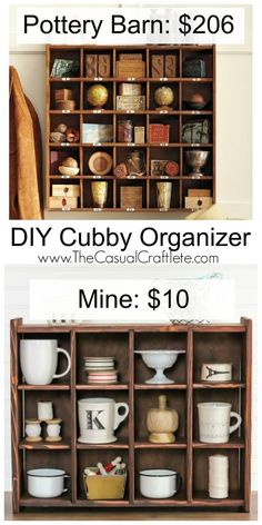 DIY Cubby Organizer – Pottery Barn inspired wooden cubby. Great for organizing kitchen items, office supplies and displaying your favorite finds.: