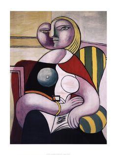 Pablo Picasso - La lecture (Woman Reading) - art prints and posters Pablo Picasso, Kunst Picasso, Art Picasso, Picasso Paintings, Art Visage, Reading Art, Woman Reading, Reading Posters, Cubist Movement