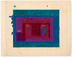 Josef Albers - Color Study for a Variant / Adobe, oil on blotting paper