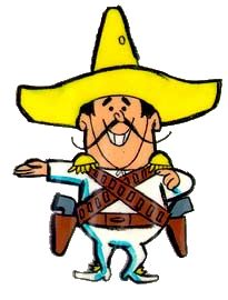 The Frito Bandito was the mascot for Frito chips in the late 1960's. the cartoon portrayed the image of a Mexican bandit as stereotyped in the Western movies of that time.   http://en.m.wikipedia.org/wiki/Frito_Bandito