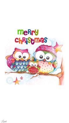 cute owl christmas iphone wallpaper - Owl Christmas