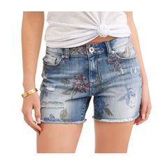 Time and Tru - e Women s Denim Fashion Shorts - Walmart.com 25f10a3c403