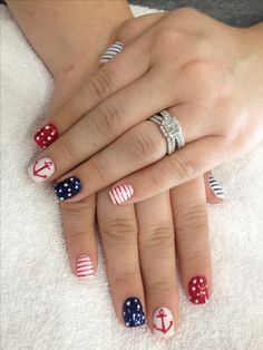patriotic nail art, anchor, nails, 4th of July, nail designs, red white and blue