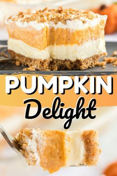 This Pumpkin Delight Dessert is sure to curb any pumpkin lovers craving! With a buttery pecan and graham cracker crust, pumpkin spice, pumpkin puree and fluffy and light vanilla pudding. It is sure to become a favorite fall dessert. 13 Desserts, Layered Desserts, Fall Dessert Recipes, Party Desserts, Delicious Desserts, Pumpkin Delight Dessert Recipe, Cheesecake Desserts, Light Desserts, Raspberry Cheesecake