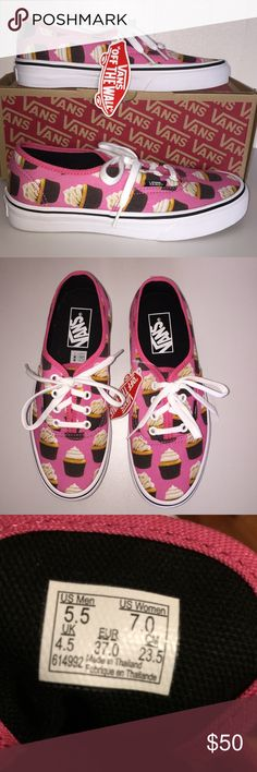 NWT Vans Cupcakes Shoes Who doesn't love sweet and yummy cupcakes?  Cute and fun shoes.  Previous host pick.  See previously sold listing. Unisex: M 5.5/ W 7.0 Vans Shoes Sneakers