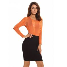 Ocstrade Sexy 2 Piece Outfits for Women New Arrival 2017 Orange Mesh Two  Piece Bodycon Bandage Dress Wholesale HL 0dcc2f3608c7