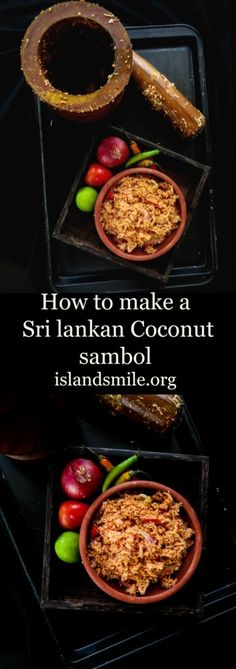 Sri lankan Coconut sambol(Pol sambol), a dish made with freshly scraped coconut, shallots, green chillies as key ingredients. gluten-free, vegan and vegetarian.