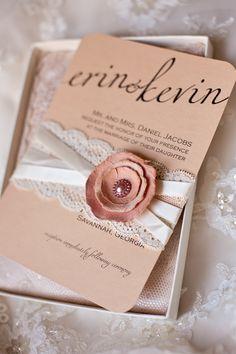 Blush printable wedding invitation. Rustic and elegant with lace, satin ribbon and rustic blush paper flower. #weddinginvitations #blushwedding #rusticelegance