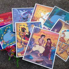 Disney World Aladdin Jasmine  Sewing Cards MINT Vintage 1990's Toys Lacing #Disney