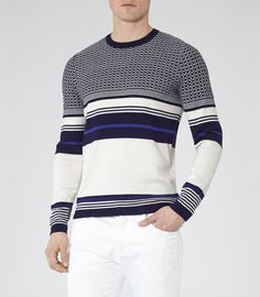 * * * * Mens Blue/black Contrast Textured Jumper - Reiss Sultan * * * * [$145]