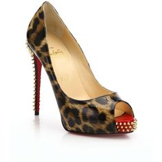 Christian Louboutin Patent Leather Peep-Toe Platform Pumps ($1,090) ❤ liked on Polyvore featuring shoes, pumps, apparel & accessories, leopard, patent pumps, leopard pumps, platform shoes, high heel platform pumps and high heel shoes