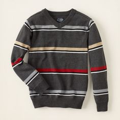 boy - sweaters - striped v-neck sweater | Children's Clothing | Kids Clothes | The Children's Place