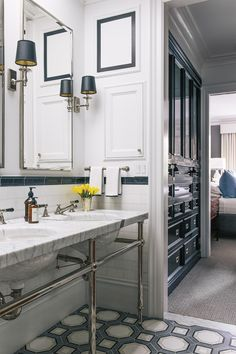 Susan Greenleaf San Francisco Home - Lonny. Color. Grey-white contemporary traditional bathroom looking on to gorgeous bdrm
