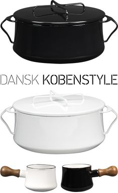 The Kobenstyle line was designed by Jens Quistgaard, the co-founder of Dansk, in 1956. It's been out of production for more than 20 years now, so this reintroduction is very exciting. The X-handled lid doubles as a trivet and makes the pots stackable! Thanks http://www.doorsixteen.com/page/3/#