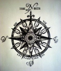 """intricate compass rose. I like the """"true North"""" at the top"""
