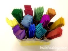Draw The Line At: organizing weaving supplies  Simple (and free) but very effective idea for organizing paper strips.