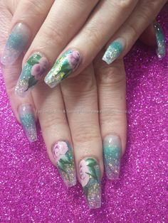 Green and blue glitter fade with one stroke flower nail art