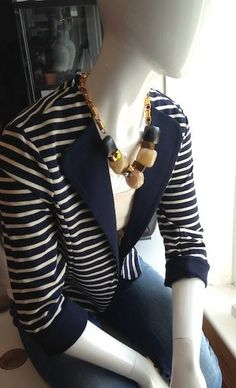 Love this easy #stripe #nauticalandnice #greatplains jacket £65 #hossintropia necklace @ATTIC womenswear Ilkley #ilkley