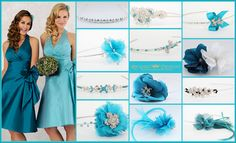 Veromia bridesmaids gowns with Richard Designs bridesmaid side tiaras, clips & bands in Kingfisher, Aqua & Teal. Aqua, Teal, Bridesmaid Accessories, Kingfisher, Bridesmaids, Bands, Wedding Inspiration, Gowns, Design