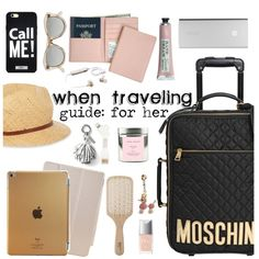When traveling guide for her by punnky on Polyvore featuring Moschino, Royce Leather, Madewell, Le Specs, Banana Republic, Philip Kingsley, Christian Dior and True Grace