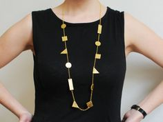 Handmade long gold leather geometric shapes necklace от BenuMade