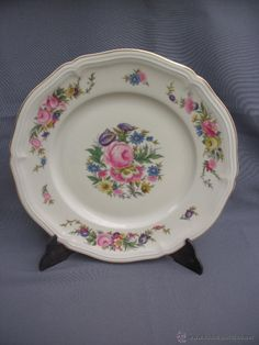 ANTIGUO PLATO O BANDEJA ROSENTHAL CON FLORES GERMANY CHIPPENDALE