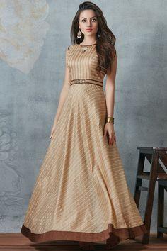 Brown Raw Silk Bead Embroidered Designer Salwar-SL8468 - Buy Online  #samyakk #salwar #designer #gown #beadwork #embroiderey #rawsilk #puresilk #indian #ethnic #brown