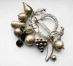 Antique Silver Brazilian Penca de Balangandan Good Luck Charm Brooch with Nine Charms