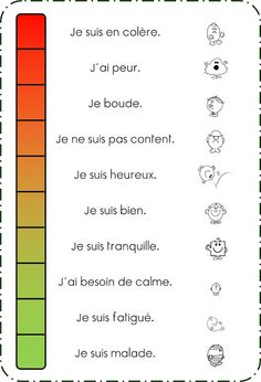 Behaviour Management in a French Classroom. This should be used as a tool for students to vocalize their emotions and feelings, essentially mental health literacy. French Teacher, Teaching French, How To Speak French, Learn French, French Adjectives, French Numbers, French For Beginners, French Education, Core French