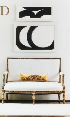 | P | Antique with Modern - 1960′s artwork by Al Held above a Louis XIV gilded settee C. Renea Abbott