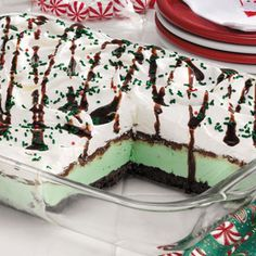 EASY Festive Mint Dessert...3/4 cup butter, divided  1 package (16 ounces) chocolate cream-filled sandwich cookies, crushed  8 cups mint chocolate chip ice cream, softened  1-1/2 cups milk chocolate chips  1 cup confectioners' sugar  3/4 cup evaporated milk  1 carton (16 ounces) frozen whipped topping, thawed  Chocolate syrup and red and green sprinkles, optional...GREAT holiday dessert!!