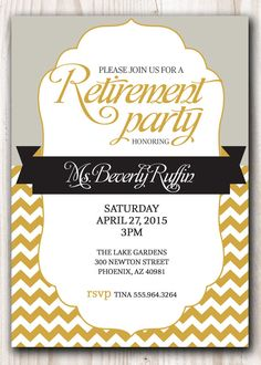 RETIREMENT PARTY Invitation Gold And Silver Or Pick Any Color Accent    Chevron   Elegant Retirement Party 5x7 Printable