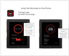 iTalk iTalk Recorder. This is another iPhone/iPad app with both a free and paid version. Students tap the big red button to record or stop recording. The paid version allows users to append to existing recordings, choose from three levels of recording quality, and email recordings from the app or send to Dropbox. Be aware that the free version contains ads.