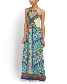 Mixed Print Maxi Dress